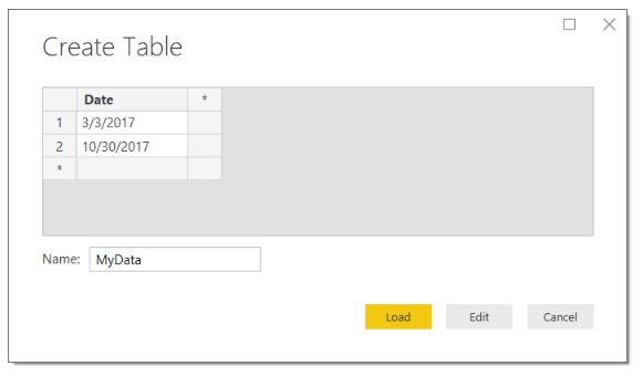 Enter Date Table
