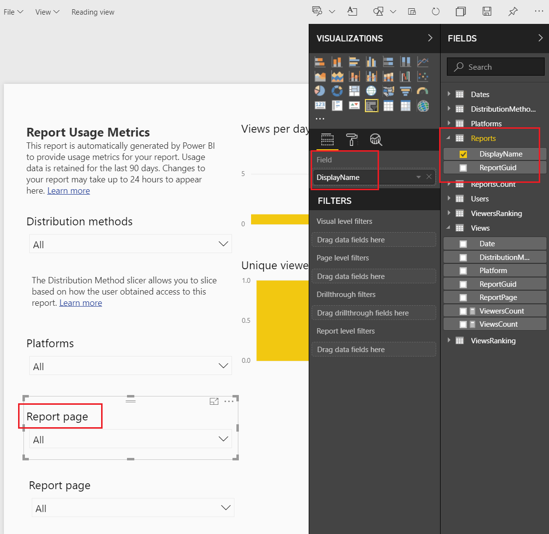 Link Report Display Name