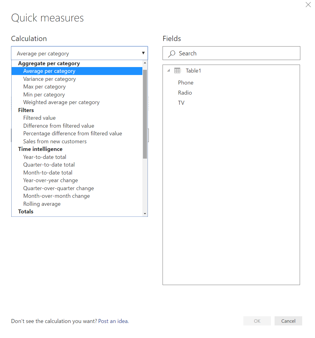 Quick Measure Dialog Box