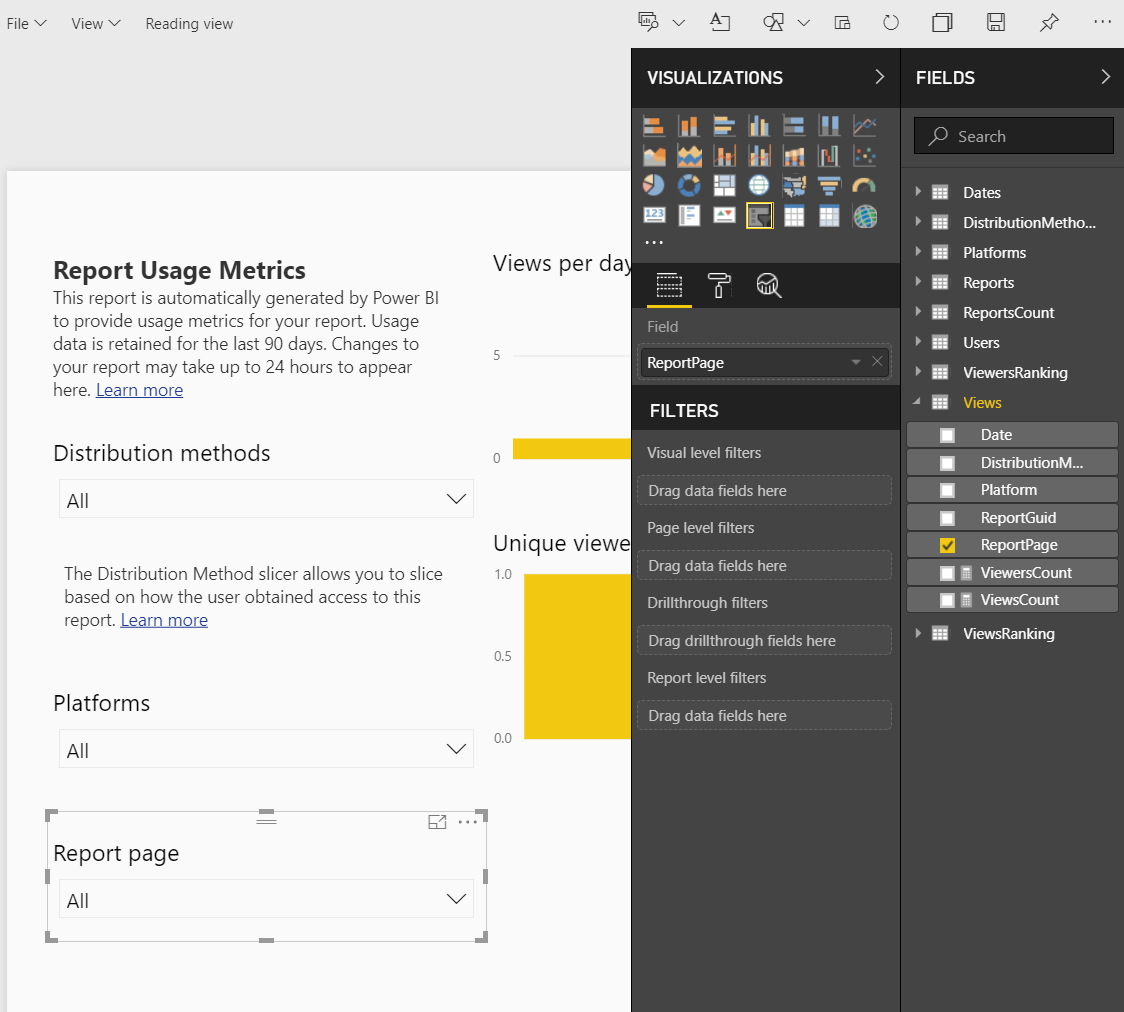 Report Page Slicer