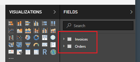 Added Data in Fields Pane