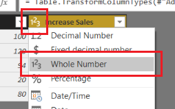 Change Column Type to Whole Number