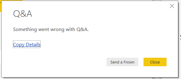 Possible Q&A Error Message
