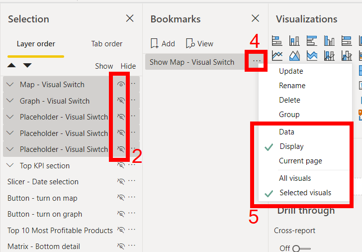 Power BI Bookmark tips: Adding the bookmark and changing the settings