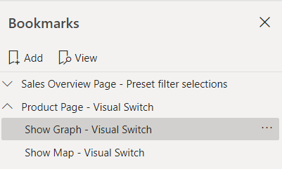 Image showing renamed Power BI bookmarks. The names read Sales Overview - Preset filter selections, Product - Visual Switch, Show Graph - Visual Switch, Show Map - Visual Switch